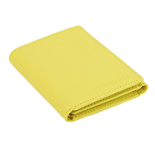 Banuce Women's Full Grains Genuine Leather Slim Small Item Trifold Wallet Color Pale Yellow