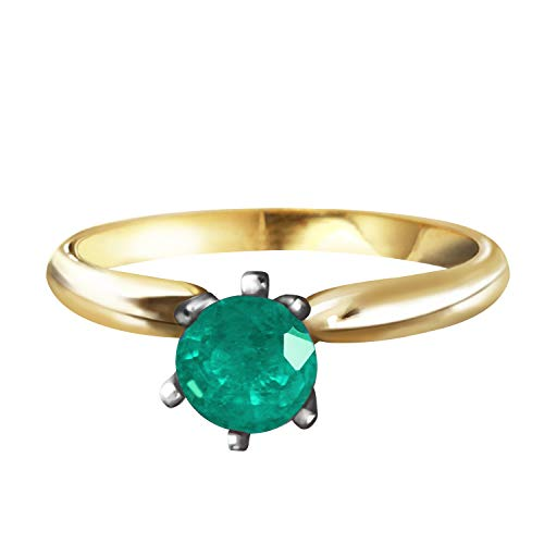 Galaxy Gold 0.65 Carat 14K Solid Rose Gold Solitaire Ring Natural Emerald Size 6.5