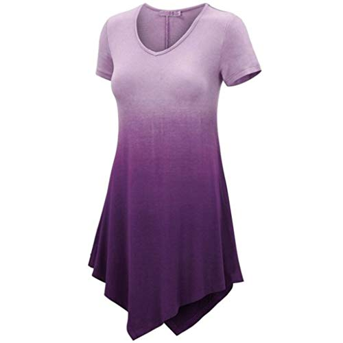 ♡Londony♡ Women's Short Sleeve O-Neck Loose Casual Tee T-Shirt Tops Long Sleeve Button Cowl Neck Tunic Sweatshirt Blouse Purple