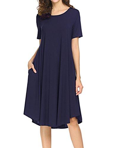 Locryz Womens Short Sleeve Pocket Casual Loose Swing Midi T Shirt Dress (XXL, Dark - Soft Dress