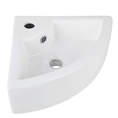 AWESON Small Corner Wall Mount Vessel Sink,White Vitreous China, Above Counter Corner Sink with One Faucet Hole and Overflow (One Hole Corner)