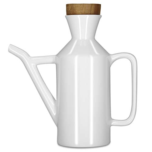 (Vinkoe Kitchen Olive Oil Dispenser Bottle, Soy Sauce or Vinegar Cruet with Pourer, 15.2 OZ Modern White Ceramic Tabletop Liquid Condiment Dispenser)