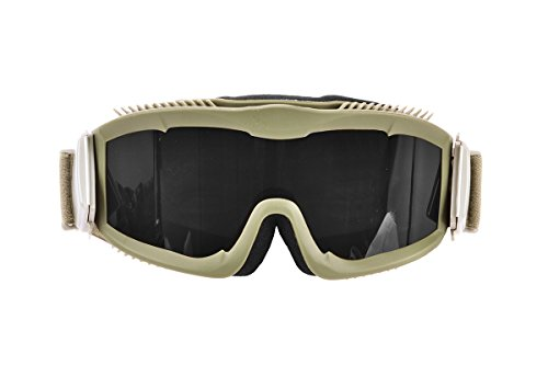 - Lancer Tactical AERO 3mm Thick Dual Pane Lens Eye Protection Safety Goggle System ANSI Z87 1 Rated Industry Standard Panel Ventilated w/Anti-Scratch Shield Fully Adjustable (Tan/Clear)