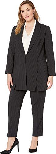 Tahari by ASL Women's Plus Size Pinstripe Topper Jacket Pants Suit Black/Blue 18 W
