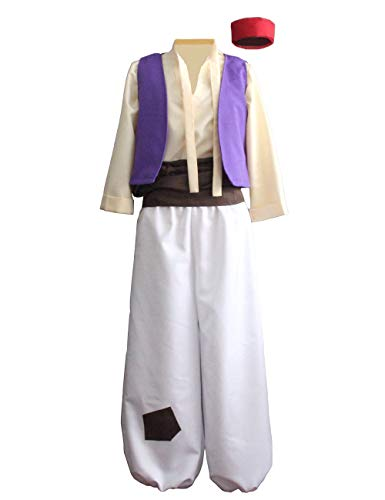 Ainiel Men's Arabian Prince Costume Aladdin Street Rat Suits (L) White -