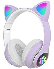 Fone de Ouvido/Headset Gamer Orelhas de Gatinho Com LED Sem Fio, Bluetooth e Com Microfone (Roxo)