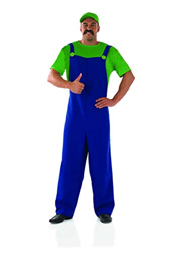 Mens Luigi Costume Mario Bros Green Plumber Brother Overalls Outfit -Medium -