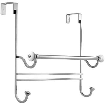 Delightful InterDesign York Over Shower Door Towel Bar Rack With Hooks For Bathroom    White/Chrome