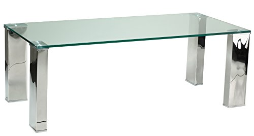Cheap Cortesi Home Isaak Contemporary Glass Coffee Table with Chrome Finish