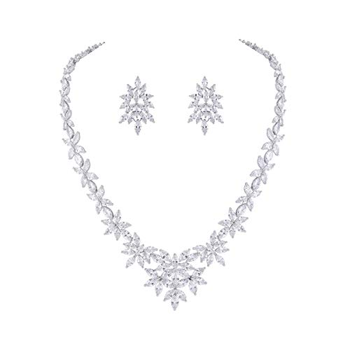 WeimanJewelry Silver White Gold Plated Women Cubic Zirconia Marquise CZ Floral Bridal Tennis Necklace and Drop Dangle Earring Set for Bride Wedding