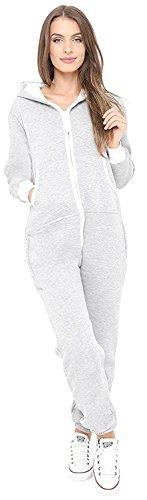 Juicy Trendz Ladies Women's Onesie Hoodie Jumpsuit All In One Piece Grey Large ()