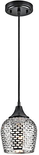 (Kichler 43489BKSLV Annata Mini Pendant 1-Light, Black Material (Not Painted))