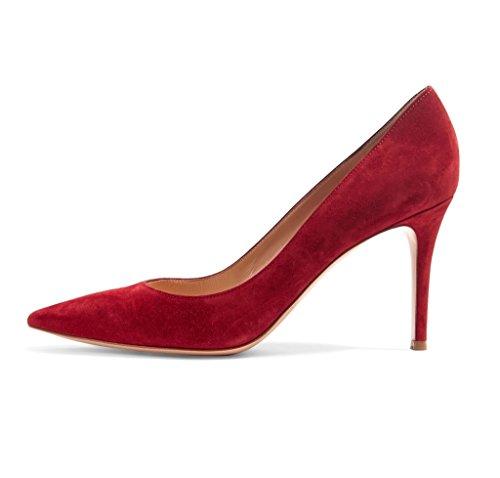 fermé Talons Hauts Chaussures EDEFS Pointu à Bureau Bout Escarpins Classique SuedeRed Femme Soiree 1wqIUnUX8R