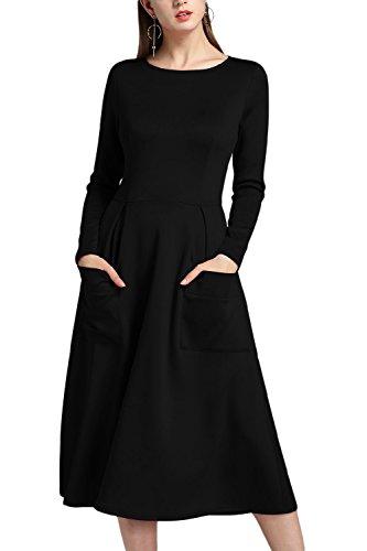 Fiesta Vestido De Manga Acampanado Swing Patchwork Sólido Y Bolsillo Larga De Elegante Mujer Cremallera negro Ajuste La OHTwxqZRq