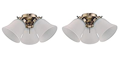 Westinghouse Three LED Cluster Ceiling Fan Light Kit, Antique Brass Finish with Frosted Ribbed Glass