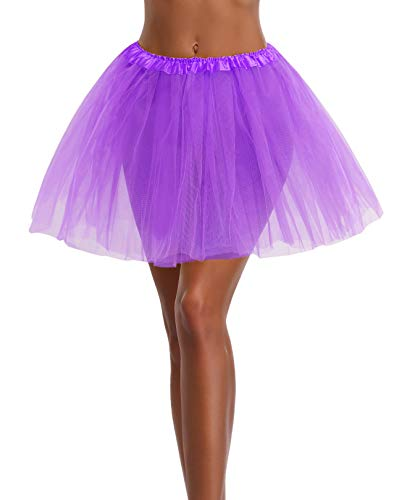 Women's, Teen, Adult Classic Elastic 3, 4, 5 Layered Tulle Tutu Skirt (One Size, Purple 3Layer)