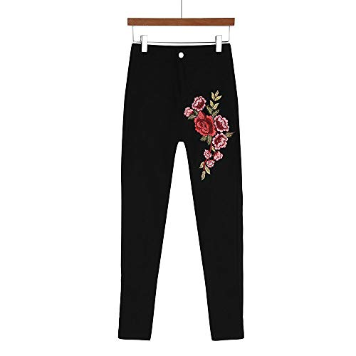 VECDUO Women Skinny Sexy Floral Embroidered Jeans High Waist Stretch Pencil Pants Black by VECDUO Women's Jeans (Image #3)
