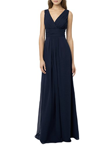 PromCC Womens V-neck Chiffon Bridesmaid Dresses Long Empire Evening Gown BD31 Navy Blue 2