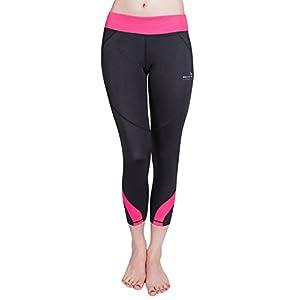 Baleaf Women's Workout Running Yoga Capri Leggings 3/4 Length Pink Size M