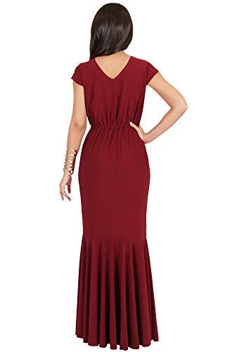 Dress Crimson Elegant Maxi Long Evening Red Sexy Formal Cap KOH KOH Womens Sleeve Cocktail qPASS7