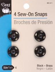 Bulk Buy: Dritz Black Sew On Snaps Size 4 4/Pkg 80-4-1 (3-Pack) by Dritz