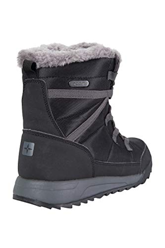 Walking Boots Lined Snow Shoes Snowproof Fur for High Leisure Mountain Black Traction Sherpa Boots Warehouse Faux Warm Womens Footwear Winter Outsole Ladies R0wtPq
