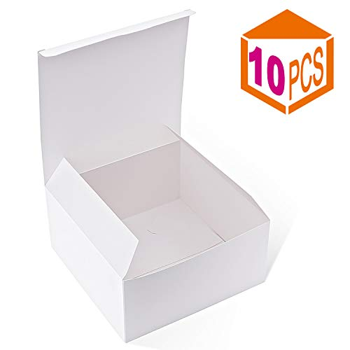 (MESHA Gift Boxes 10Pack 8 x 8 x 4 Inches,Paper Gift Boxes with Lids for Gifts,Bridesmaid Proposal Box,Crafting, Cupcake Boxes (White))