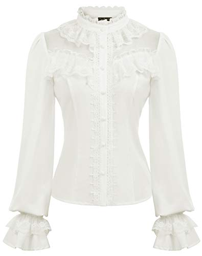 Women's Stand-Up Collar Ruffled Long Sleeve Blouse Tops White XL
