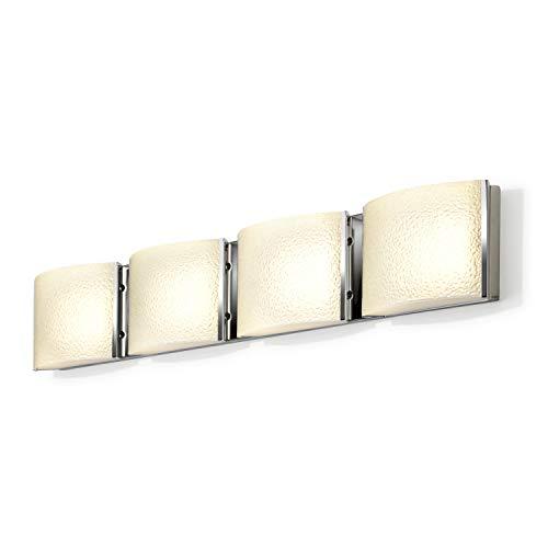 LED Bathroom Vanity Fixture - 4-Light, Chrome Metal Finish, Textured Water Glass, Hardwire, Damp Located - ETL Listed