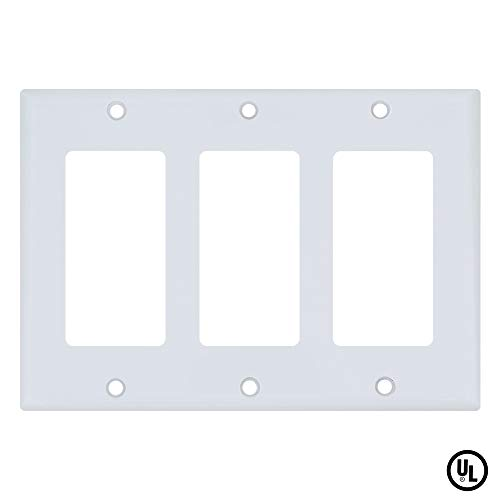 ESD Tech Wall Plate Covers for Light Switches and Outlets 3-Gang Standard Size Faceplate. Decora. Fits Paddle, Rocker, and Receptacles. Unbreakable, UL Listed ()
