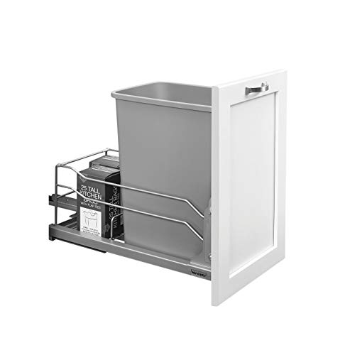 5 Shelf Single - Rev-A-Shelf - 53WC-1535SCDM-117 - Single 35 Qt. Pull-Out Silver Waste Container with Soft-Close Slides