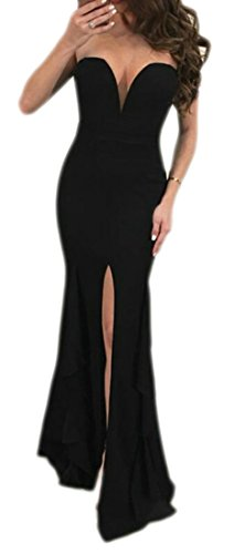 Long Cromoncent Casual Dresses Slit Womens Ruffles Solid Strapless Black Sexy 0Oqa0w7r