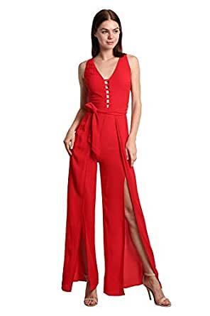 SmokyTrends Jumpsuit with Front Detail - Red