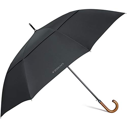 ZEKAR -|Largest Ever on Amazon|- 68-inch Wooden Handle Stick Umbrella | Cover Family | Luxury Wood Handle | Double Canopy Windproof, Vented Design | Auto Open | for Men & Women