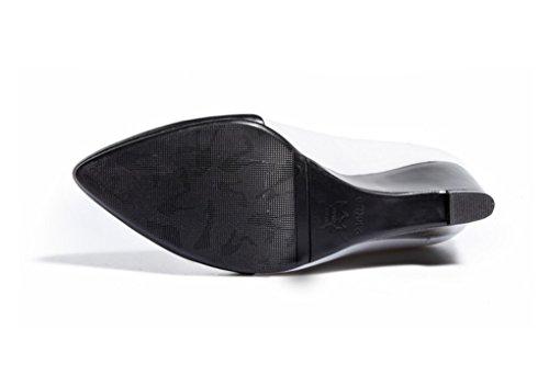 pour Printemps de LBDX première 1 Pointu Haut Cuir Cuir Taille 34 Couleur Talon Colorblock Chaussures Femmes Amérique Boucle Europe et Véritable Couche 1 La TW4qd4g