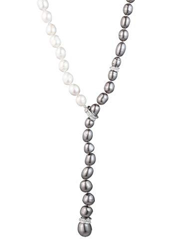 (Carolee Women's Adjustable Ombre Pearl Y-Necklace, Silver/Gray, 16