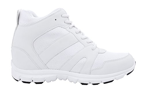 ac4f6a2d03fab CALTO Men's Invisible Height Increasing Elevator Shoes - White Leather/Mesh  Lace-up Trainers - G3329-4 Inches Taller