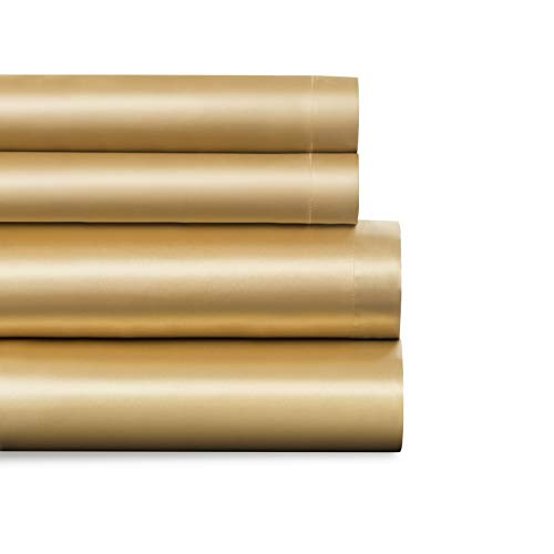 Baltic Linen Satin Luxury Sheet Set King Gold  4-Piece Set