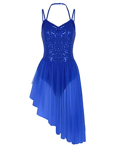 Halter Leotard Dance (iiniim Women's Sequined Camisole Leotard High Low Ballet Tutu Dress Dance Wear Costumes Blue Medium)