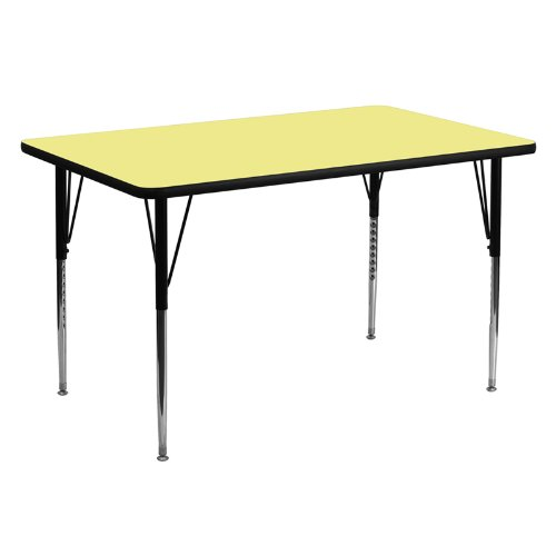 Flash Furniture 30''W x 60''L Rectangular Yellow Thermal Laminate Activity Table - Standard Height Adjustable Legs