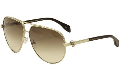 Alexander McQueen AM0018S 002 Gold Brown AM0018S Aviator Sunglasses Lens - For Men Sunglasses Alexander Mcqueen