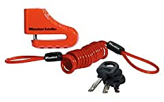 The Master Lock No. 8303DPS Disc Brake Lock features a 2in (51mm) zinc steel body providing rust protection. The high security disc cylinder and steel shackle offer added resistance to picking and cutting. The bright red cord serves as a remi...