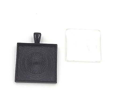 (24 Deannassupplyshop 1 inch square Pendant Trays with glass dome - Black - 1 inch - Pendant Blanks Cameo Bezel Settings Photo Jewelry - Custom Jewelry Making - 1 inch)