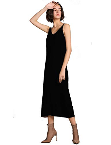 FINCATI Black Sweater Dresses for Women Wool Knit V-Neck Camisole Slim Fit Sheath Dress (1516 Black, M)