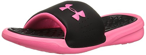 Under Armour Girls' Playmaker Fixed Strap Slide Sandal, Black (001)/Cerise, 1 (Under Armour Slide Sandals Youth)