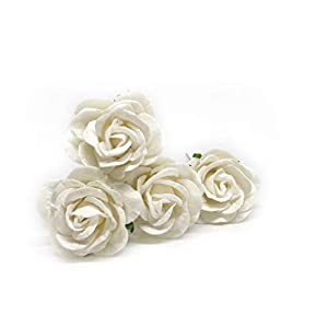"1.5"" White Paper Flowers Paper Rose Artificial Flowers Fake Flowers Artificial Roses Paper Craft Flowers Paper Rose Flower Mulberry Paper Flowers, 12 Pieces 58"