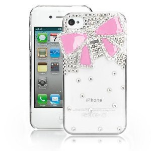 VIKEN Fashion Bling Crystal Bow Case for Iphone 4/4S (Pink)