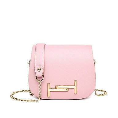 Las mujeres de moda de cuero PU/bolsas de mensajero hombro Bolso,negro Blushing Pink
