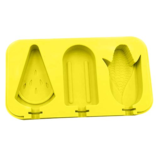 Popsicle Molds - Watermelon Corn Classic -Reusable Juice Ice Pop Molds Maker - 3 Cells ice Cream Containers Chocolate Lollipop Molds For Children Summer Home Kitchen Tools (Yellow) (Homemade Almond Milk Ice Cream In A Bag)