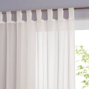 Voile TAB TOP Curtain WHITE 90 Inch 229cm Drop QUALITY SHEER VOILE